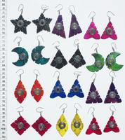 Color earrings made of horn