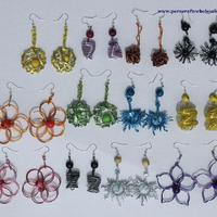 Metal wire and seed earrings