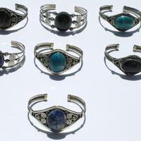 Metal bracelets with stones