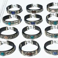 Bracelets of leather and metal